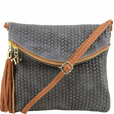 TUSCANY LEATHER shoulder bag for woman woven printed with tassel made in Italy