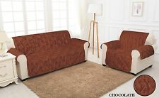 CHOCOLATE QUILTED Jacquard Slip Sofa Settee Cover Protector Sizes: 1,2,3 Seater