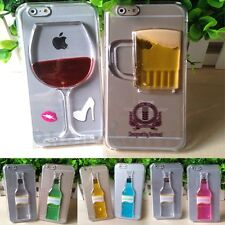 Cool Dynamic Liquid Quicksand Bottle Pattern Clear Case Cover For Apple iPhone