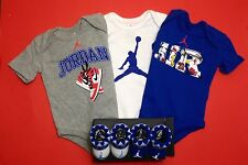 AIR JORDAN 5pc BOYS Outfit gift Set 3 Bodysuits/Romper & 2 pairs of Booties 0-6M