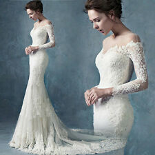 Western Lace Long sleeve Bride Wedding dress/ Gown fishtail skirt with trail