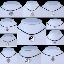 Popular Tibetan Silver Pendant Necklace Choker Chains Charm Black Leather Cord