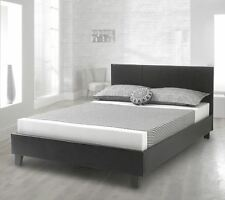 Happy Beds Bed Prado Faux Leather Contemporary Solid Sleigh Frame Mattresses