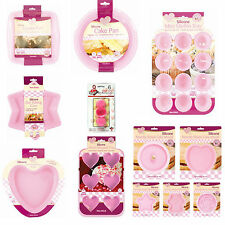 NEW SILICONE NON STICK ASSORTED HEARTS,SQUARE,STAR,MUFFIN,FLAN,BEAR,ROSE MOULDS