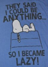 Snoopy Peanuts Adult T-Shirt Tee Officially Licensed I BECAME LAZY!