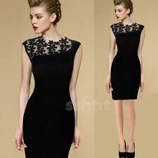 Women Black Lace Floral Dress Elegant Casual Sleeveless Slim Bodycon Dress NEW