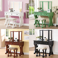 Tri Mirror Curved Lines White Black Green Cherry Wood Make up Table Vanity Set