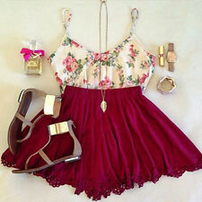 Women Lady Two-Piece Dress Outfit Flower Cotton Strap Tank Top+Lace A-Line Skirt