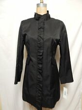 DKNY Petite Ruffle Trim Trench RainCoat PL Black  NWT