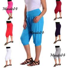 Women Ladies 3/4 Harem Baggy Short Plain Cropped Ali Baba Trouser Pants Size8-22