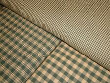 Green Homespun Fabric | Ticking, Plaid And Check Material  | 1/4, 1/2 or 1 Yard