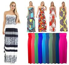Womens Boob Tube Bandeau Long Jersey Strapless Printed Summer Maxi Dress 8 to 26