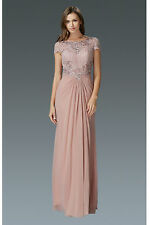 Occasional Evening Formal Gown Lace Chiffon Short Sleeve Beaded Appliques Bodies