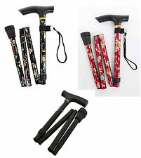 ALUMINIUM ADJUSTABLE Walking Stick Folding Red Floral, Black Floral, Plain black