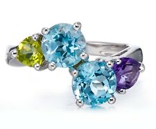 Genuine Sky Blue topaz, Amethyst and Peridot Solid 925 Sterling Silver Ring