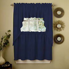 Navy Opaque Solid Ribcord Kitchen Curtains Choice of Tiers Valances and Swag