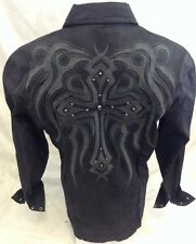 Mens House of Lords Button Down Shirt Cross Tribal Black Roar With Class HLS3001