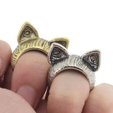 2Pcs Unisex Vintage Retro Cute Cat Ear Finger Ring Silver/Bronze Fashion Jewelry