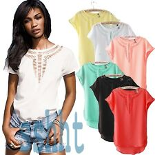 Women Casual Chiffon Blouse Short Sleeve Shirt T-shirt Summer Blouse Tops NEW