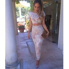 Cream/Nude Lace Two Piece Celeb Style Boutique Co Ord Two Piece Set Sizes XS-L