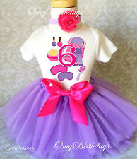 Sleepover Spa Pink Purple 6th Sixth Girl Birthday Tutu Shirt Outfit Set Party