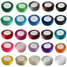 "Wholesale 25 Yards 1"" 25mm Satin Ribbon Craft DIY Bow Wedding Party Decor Colors"