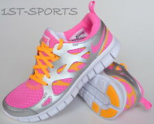 GIRLS NIKE TRAINERS, SHOES, FREE RUN 2 477701 600 UK 4.5 to 5.5 PINK / SILVER
