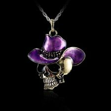Retro Hiphop Men Cowboy-hat Skull Enamel Pendant Crossbones Necklace Jewelry Hot