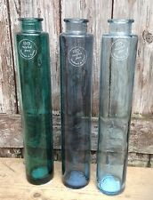 100% Recycled Handmade Blue Glass Tall Torpedo Bottle Vase - 3 colour choices