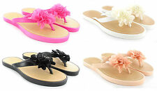 WOMENS LADIES SUMMER BEACH WEDGE FLOWER MULE SANDALS FLIP FLOPS SIZES3-8 NEW