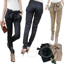 Fashion Women's Skinny Long Trousers OL Casual Bow-knot Harem Slim Comfy Pants