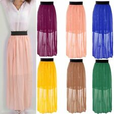 NEW Women Double Layer Chiffon Pleated Retro Elastic Waist Summer Beach Skirt
