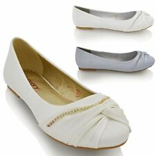 WOMENS DIAMANTE CHAIN WEDDING BRIDAL LADIES FLAT IVORY WHITE SILVER PUMPS SHOES
