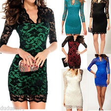 Fashion Women V-neck Pencil Fit Slim Lace Mini Dress Cocktail Club Party Sexy