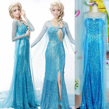 WOMEN ADULT STYLE PRINCESS ELSA COSPLAY DRESS PARTY FANCY COSTUME