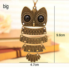 New Lady Women Vintage Retro Bronze/Silver Owl Pendant Necklace Gift For XMAS