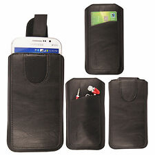 For Various Mobile Phones Black PU Leather Pull Up Tab Pouch Sleeve Case Covers