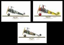 Fokker DR1 1917 Aircraft Profile Artworks  A5 A4 set 3 Glossy Print WW1