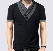 New Fashion Mens Short Sleeve Slim Fit V-Neck T-Shirt Casual Top Shirts for Men