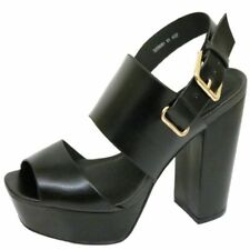 LADIES ANKLE STRAP PLATFORM CHUNKY HIGH BLOCK HEEL PEEPTOE SANDAL SHOES SIZE 2-9