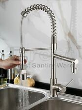 Modern Swivel Spout Pull out Spray Kitchen Sink Faucet Brushed Nickel and Chrome