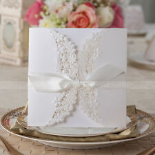 White Floral Cut-out Wedding Invitations Cards With Bowknot & Envelopes, Seals