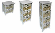2,3,4 Drawer White Wood Storage Cabinet with Maize Baskets