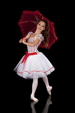 Boulevard Candy Stripe Costume. Red & White. Mary Poppins Dance Tutu