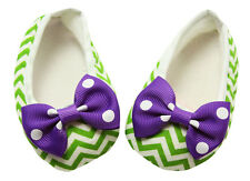 Green Chevron Baby Crib Shoes with Purple Bows- Newborn, 3-6 Months, 6-12 Months