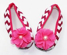Hot Pink Chevron Baby Crib Shoes with Chiffon- Newborn, 3-6 Months, 6-12 Months