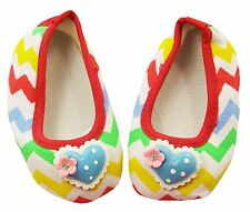 Rainbow Chevron Baby Crib Shoes with Hearts-Newborn,3-6 Months,6-12 Months