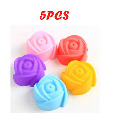 New 5Pcs Silicone Rose Muffin Cookie Cup Cake Baking Mould Chocolate Jelly Maker