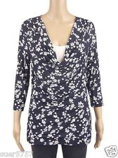 New GEORGE Blue & White Floral Overlay 3/4 Sleeve Casual Top Size 10 - 24