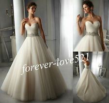 New White/ivory Organza Bridal Gown Wedding Dress Stock Size 6-8-10-12-14-16